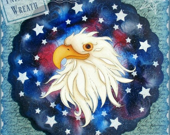 E PATTERN - Patriotic Wreath with Eagle and Stars! Americana - Designed & Painted by Sharon Bond - FAAP