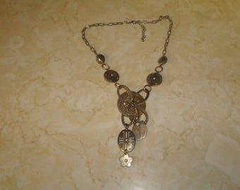 vintage necklace silvertone chain charm dangles