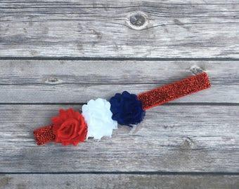 Red, white and blue headband, patriotic headband, 4th of july headband,