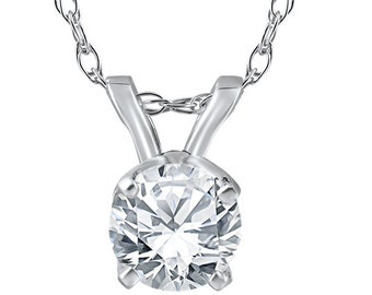 "Solitaire Diamond Pendant 14K White Gold 1/4CT Round Brilliant Cut Solitaire Diamond Pendant Womens Necklace 18"" 14k Chain"
