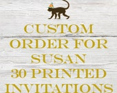 Reserved listing for Susan for 30 Printed Antique Balloon Birthday Invitations with White Envelopes