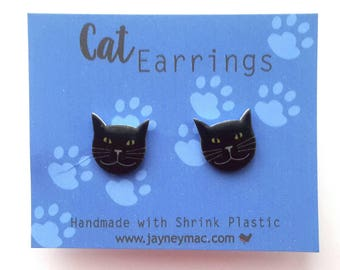 Black Cat Shrink Plastic Earrings