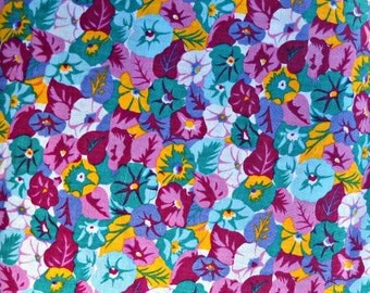 Purple Teal Flower Fabric, Polyester/Rayon/Linen Blend, 1 yard cut