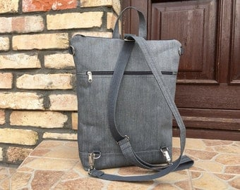 Solid Grey Vegan Backpack, Minimalist Gray Rucksack, Functional Laptop carrier, unique gift for college student, birthday present