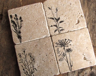 Natural stone coaster. Wild Flower Coasters.  Mother's Day Gift. Rustic Decor.  Set of Four Coasters. Gift. Wild Flowers.