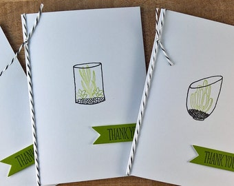 Cactus Thank You Cards Set of 5, Thank You Notes, Stationery Set, Cactus Cards, Plant Lover Gift, Succulent Thank You Cards, Sempervivum