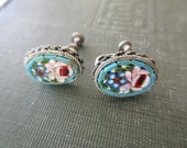 vintage mosaic earrings - blue floral, venetian, silver, screw back, Made in Italy
