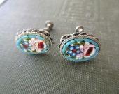 vintage mosaic earrings - blue floral, venetian, silver, screw back, Made in Italy
