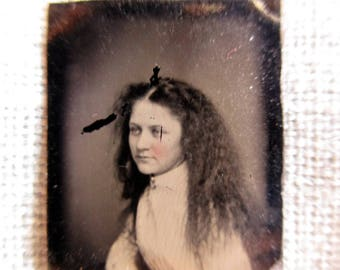 antique miniature gem tintype photo - 1800s, pretty woman with long frizzy hair