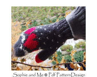 Snow Heart Mittens and Fingerless Gloves - Crochet Pattern - Instant Download
