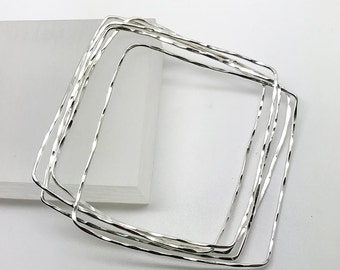 Organic Square Stacked Bangles in Sterling Silver //  Handmade Bracelet Bangles // by Amallias
