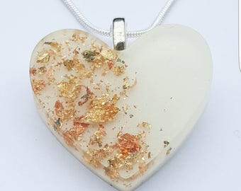 Gold flakes Heart Pendant