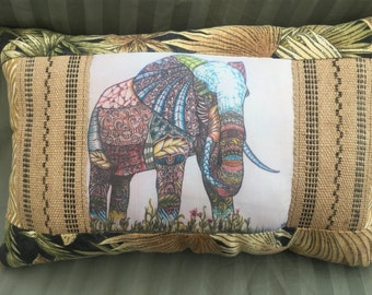 Colorful -  Zentangle Inspired -OOAK  Quilted Elephant Pillow