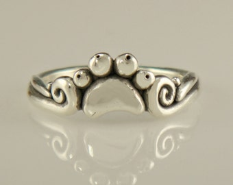 R952- Sterling Silver Small Paw Print Ring- One of a Kind