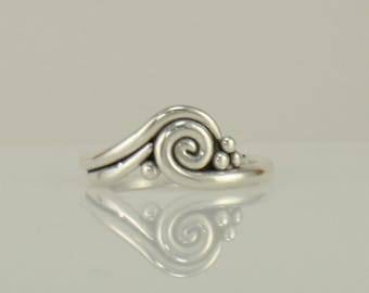 R1096-  Sterling Silver Swirl Ring- One of a Kind