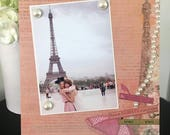 Paris Eiffel Tower Pink Fashion girl teen mom Dorm room gift handmade magnetic picture frame holds 5 x 7 photo 9 x 11 -Be True to yourself