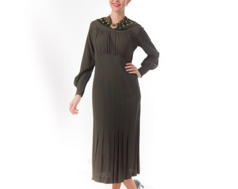 1930's Sage Green Art Deco Dress/ 30's Bishop Sleeves Day Dress