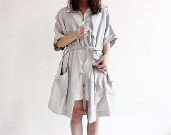 Linen dressing gown, Dove grey bathrobe, Light grey linen night robe , Grey linen bath robe, Linen Spa robe for women