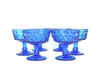 Vintage Cerulean Blue Thumbprint Glass Goblets, Set of 6 (E8428)