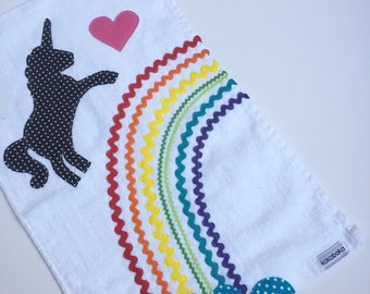 Rainbow unicorn golf towel. 11x18 Golf Towel for Girls Boys and Fun Adults