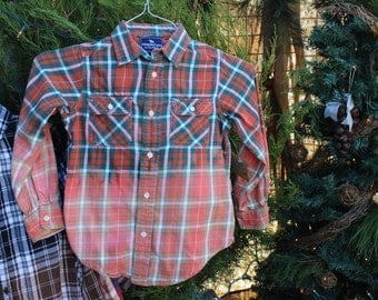 Size 6 Kids Distressed Flannel Shirt / Childs Bleached Flannels / Size 6 Shirt / Long Sleeve Plaid Flannel / Bleached, Grunge Flannels FF95