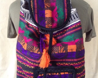 Vintage woven wool bear backpack