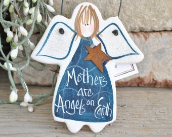 Mother's Day Gift Salt Dough Ornament Angel / Birthday for Mom or Xmas  Hanging Salt Dough