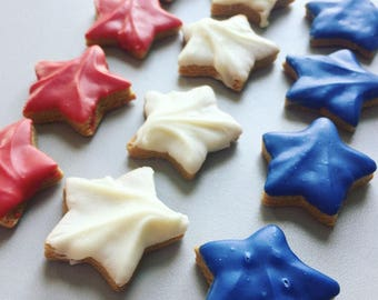 Mini Red White and Blue Stars Dog Treats - Patriotic Stars - 4th of July - Memorial Day - Peanut Butter Cookies - Independence Day - Summer