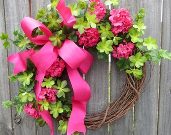 Geranium Wreath, Pink Wreath, Spring Wreath, Summer Wreath, Bright Pink Wreath, Door Wreath, Front Door Wreath, Mother's Day Gift