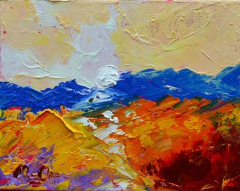 "Orange Mountain Light - Original Abstract   Landscape  Painting - Original Oil Painting 8"" x 10""  - Claire McElveen Available Framed"