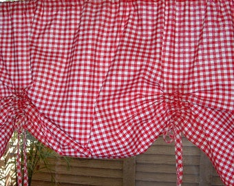 PRINTED CHECK  Tie-Up Valance Cotton  Window Treatment  Black or Red 40w 50w 60w