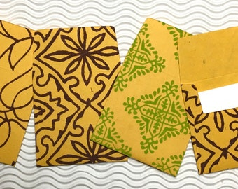 10 teeny tiny envelopes yellow handmade papers miniature note sets square stationery party favors weddings guest book table numbers