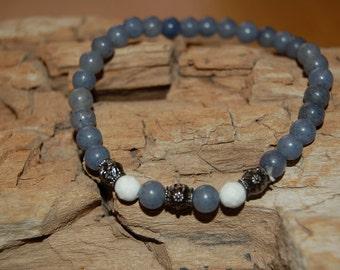 Mens Bracelet Blue Aventurine Howlite Bead Bracelet for Men Grounding Jewelry for Men Gift Ideas for Him