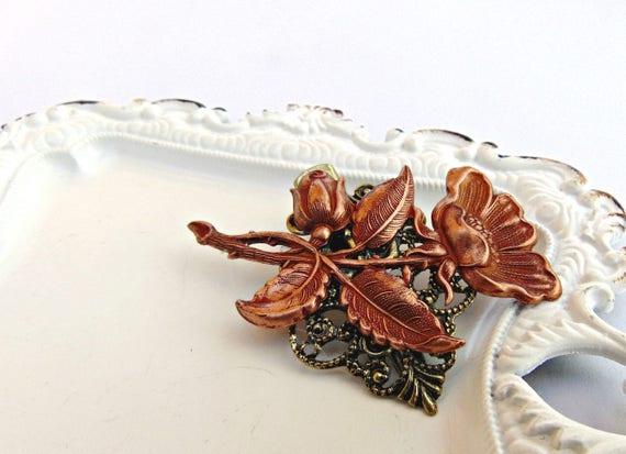 Art Nouveau Floral Hair Clip, Flower Hair clip, Rose Gold Flower, Floral Hair Barrette, Flower clip, Rose Gold Copper, Bridal Clip ANEMONE