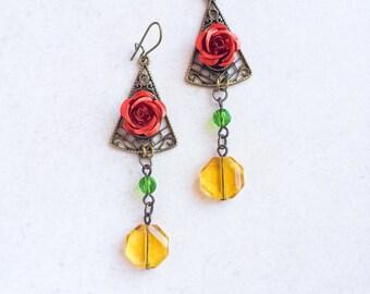 Red Rose Beaded Earrings, Red Green Yellow Brass Earrings, Flamenco Flower Spanish Earrings