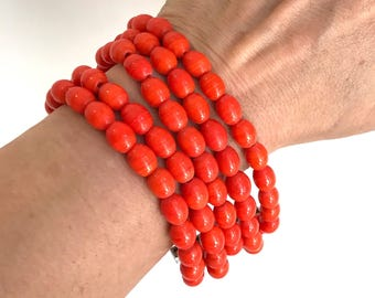 Tangerine Dream Orange Beaded Bracelet Coral Bead Bracelet Multi Strand Colorful Beaded Bracelet Coral Bracelet Orange Beaded Bracelet