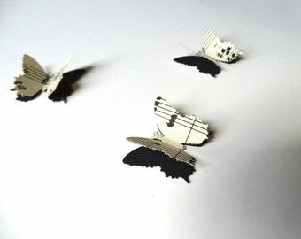 3D Paper Butterflies, vintage music sheet butterflies, bridal shower decor, musical birthday party decor