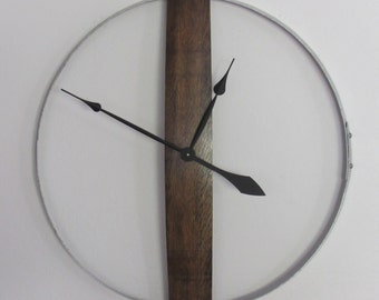 Wall Clock Made From a Recycled Wine Barrel Ring and Stave