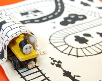Train Play Mat, Baby Montessori Toys, kids travel gift, pretend play, Eco Friendly Boys Gift, Organic Train Playmat, Organic toy waldorf toy