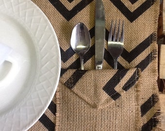 Set of 4 Placemats with Silverwear Pocket Burlap Chevron
