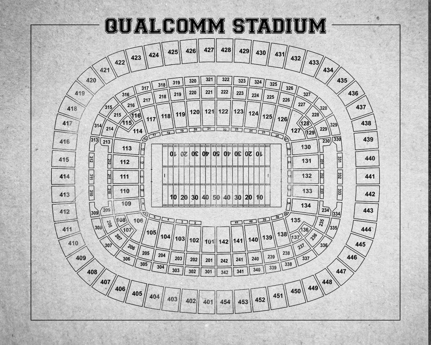Print of vintage qualcomm stadium seating chart seating for 12x15 calculator