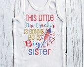 Going to be a big sister 4th of july little firecracker pregnancy announcement Tshirt girls clothing