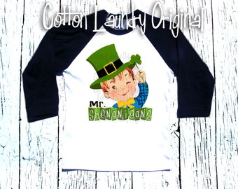 "St. Patricks Day Boys..""Mr Shenanigans"" Raglan baseball style tee shirt....St. Patricks Day......"