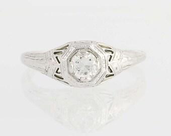 Art Deco Diamond Engagement Ring- 18k Gold Filigree European Cut Solitaire .34ct Unique Engagement Ring N3215