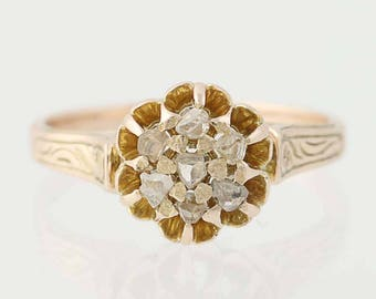 Victorian Macle Diamond Ring - 10k Yellow Gold Women's Size 6 1/2 Antique N8301