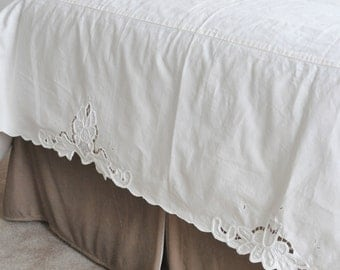 Bed Skirt - Cotton - Embroidered - Beige - Twin Mattress - Lotus Flower - Bed Dust Ruffle