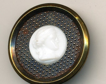 Antique Brass Button White Glass Cameo Woman's Head  ca. 1890's PRICE REDUCED