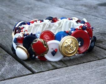 Nautical Bracelet, Vintage Assemblage, Hand Embroidered Vintage Buttons, Med Large
