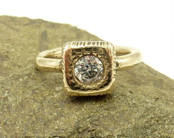 Bronze Solitaire Ring with 5MM CZ, Contemporary Solitaire Ring, Stacking Solitaire Ring, Womens Bronze Ring