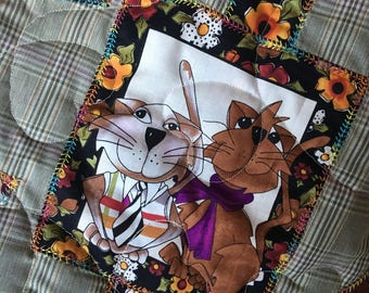 Cool Cats Handmade Appliqued Throw-Quilt